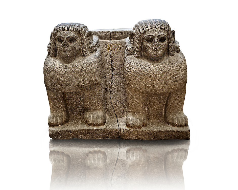 Late Hittite (Aramaean)  Basalt Double Sphinx  sculpture from 9th Cent B.C, excavated from the entrance of Palace III Sam'al (Hittite: Yadiya) located at Zincirli Höyük in the Anti-Taurus Mountains of modern Turkey's Gaziantep Province. Istanbul Archaeological Museum Inv. No 7731. .<br /> <br /> If you prefer to buy from our ALAMY STOCK LIBRARY page at https://www.alamy.com/portfolio/paul-williams-funkystock/hittite-art-antiquities.html - Type - Samal - into the LOWER SEARCH WITHIN GALLERY box. Refine search by adding background colour, place, museum etc<br /> <br /> Visit our HITTITE PHOTO COLLECTIONS for more photos to download or buy as wall art prints https://funkystock.photoshelter.com/gallery-collection/The-Hittites-Art-Artefacts-Antiquities-Historic-Sites-Pictures-Images-of/C0000NUBSMhSc3Oo