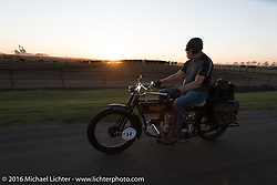 Vern Acres (L) of Ontario, Canada riding his 4-cylinder 1914 Henderson class-2 motorcycle during the Motorcycle Cannonball Race of the Century. Rest day in Dodge City, KS. USA. Sunday September 18, 2016. Photography ©2016 Michael Lichter.