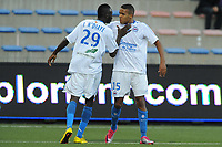 FOOTBALL - FRENCH CHAMPIONSHIP 2010/2011 - L1 - FC LORIENT v SM CAEN - 18/09/2010 - PHOTO PASCAL ALLEE / DPPI - JOY YOUSSEF EL ARABI (CAEN) CONGRATULATED BY ISMAILA N DIAYE