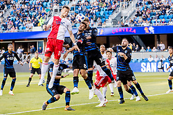 June 13, 2018 - San Jose, CA, U.S. - SAN JOSE, CA - JUNE 13: New England Revolution Defender Antonio Mlinar Delamea (19) gets a strong header on the ball in the box during the MLS game between the New England Revolution and the San Jose Earthquakes on June 13, 2018, at Avaya Stadium in San Jose, CA. The game ended in a 2-2 tie. (Photo by Bob Kupbens/Icon Sportswire) (Credit Image: © Bob Kupbens/Icon SMI via ZUMA Press)
