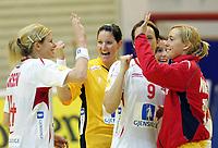 05.12.2008 Ohrid(FYR Macedonia)<br />Ukraine-Norway European women's handball championship<br />Tonje Larsen(L) with Pedersen Terese(c) and Haraldsen Kristine(r) Norway celebrate victory<br />Foto:Aleksandar Djorovic