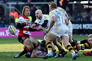 Wasps centre Brendan Macken plays the ball during the Aviva Premiership match between Gloucester Rugby and Wasps at the Kingsholm Stadium, Gloucester, United Kingdom on 24 February 2018. Picture by Alan Franklin.