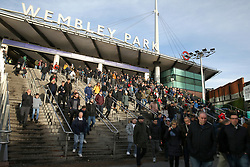 Fans make their way to the ground from Wembley tube station