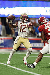 Florida State Seminoles quarterback Deondre Francois (12) attempts a pass against the Alabama Crimson Tide during the Chick-fil-A Kickoff NCAA football game on Saturday, September 2, 2017, in Atlanta. (Paul Abell via Abell Images for Chick-fil-A Kickoff Game)