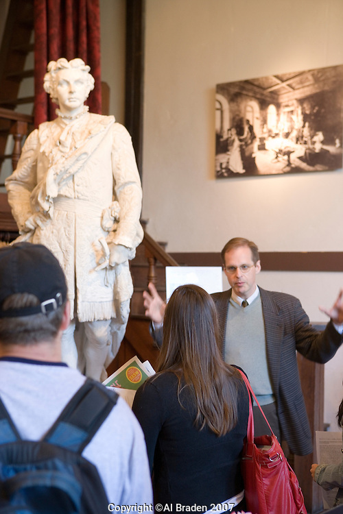Professor Louis Waldman of University of Texas discusses King Ludwig II of Barvaria Sculpture at Elizabet Ney Museum, Austin, Texas.