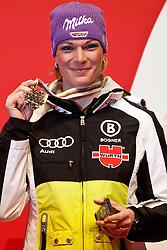 13.02.2011, Medal Placa, Garmisch Partenkirchen, GER, FIS Alpin Ski WM 2011, GAP, Damen, Abfahrt, Winners Presentation, im Bild dritte, bronze Medaille Maria Riesch (GER) // third, bronze Medal Maria Riesch (GER) during Downhill Ladies Winners Presentation Fis Alpine Ski World Championships in Garmisch Partenkirchen, Germany on 13/2/2011. EXPA Pictures © 2011, PhotoCredit: EXPA/ J. Groder
