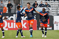 FOOTBALL - FRENCH CHAMPIONSHIP 2011/2012 - L1 - OLYMPIQUE MARSEILLE v MONTPELLIER HSC - 11/04/2012 - PHOTO PHILIPPE LAURENSON / DPPI - JOY AFTER OLIVIER GIROUD (MON) GOAL