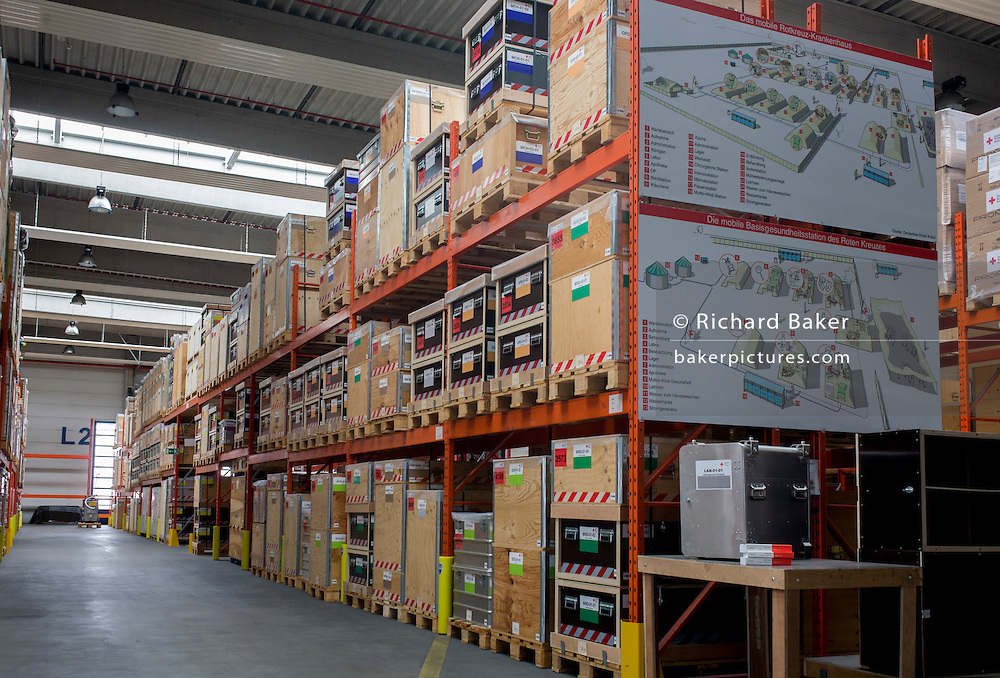 Emergency supplies warehouse, Deutsches Rotes Kreuz (DRK - German Red Cross) at their logistics centre at Berlin-Schönefeld airport.  <br /> <br /> From the chapter entitled 'A life to save' and from the book 'Risk Wise: Nine Everyday Adventures' by Polly Morland (Allianz, The School of Life, Profile Books, 2015).