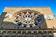 Rose Window, 1206, on the Facade of the Romanesque Basilica Church of Santa Maria Maggiore, Tuscania .<br /> <br /> Visit our ITALY PHOTO COLLECTION for more   photos of Italy to download or buy as prints https://funkystock.photoshelter.com/gallery-collection/2b-Pictures-Images-of-Italy-Photos-of-Italian-Historic-Landmark-Sites/C0000qxA2zGFjd_k .<br /> <br /> Visit our MEDIEVAL PHOTO COLLECTIONS for more   photos  to download or buy as prints https://funkystock.photoshelter.com/gallery-collection/Medieval-Middle-Ages-Historic-Places-Arcaeological-Sites-Pictures-Images-of/C0000B5ZA54_WD0s