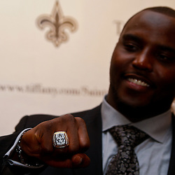June 16, 2010; New Orleans, LA, USA; A member of the New Orleans Saints organization displays his championship ring outside the Roosevelt Hotel where the New Orleans Saints received their Super Bowl rings for their victory of the Indianapolis Colts in Super Bowl XLIV.  Mandatory Credit: Derick E. Hingle