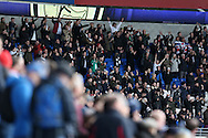Fulham fans celebrate their teams win at the end of the game.  The Emirates FA Cup, 3rd round match, Cardiff city v Fulham at the Cardiff city stadium in Cardiff, South Wales on Sunday 8th January 2017.<br /> pic by Andrew Orchard, Andrew Orchard sports photography.
