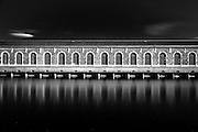 The bfm (bâtiment des forces motrices) stands in the middle of the Rhone river in the heart of geneva. This old building is famous and it's used for spectacle and other exhibition.