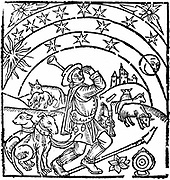Shepherd guarding his flock at night. Under his arm are his bagpipes. He has two dogs with spiked protective collars to help him guard his animals, but these are on leads while in the background a wolf is carrying off a lamb. Woodcut from early 16th century English edition of 'The Shepheards Kalendar'.