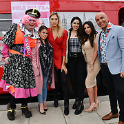 John Dixon, Nadia Essex, Lilly Douse, Claudia Sowaha, Francine Lewis and Simon Gross  attend Celeb Bri Tea, on board the BB Bakery bus on 22 March 2019, London, UK.