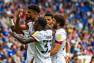 CELE Bournemouth midfielder Philip Billing  (29) celebrates scoring the opening goal with the fans during the EFL Sky Bet Championship match between Cardiff City and Bournemouth at the Cardiff City Stadium, Cardiff, Wales on 18 September 2021.