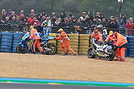#36 Joan Mir, Spanish: Team Suzuki Ecstar and #17 Karel Abraham, Czech: Reale Avintia Racing Ducati crash on the warm up lap during racing on the Bugatti Circuit at Le Mans, Le Mans, France on 19 May 2019.
