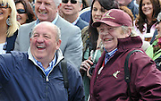 13-5-2012: Rcae horse trainers Michael Hourigan and Mouse Morris are in stitches as their jockeys go through an Irish speaking test at Killarney Races La na Gaeilge on Sunday..Picture by Don MacMonagle