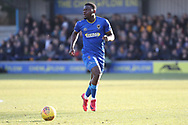 AFC Wimbledon defender Deji Oshilaja (4) dribbling during the EFL Sky Bet League 1 match between AFC Wimbledon and Bristol Rovers at the Cherry Red Records Stadium, Kingston, England on 17 February 2018. Picture by Matthew Redman.