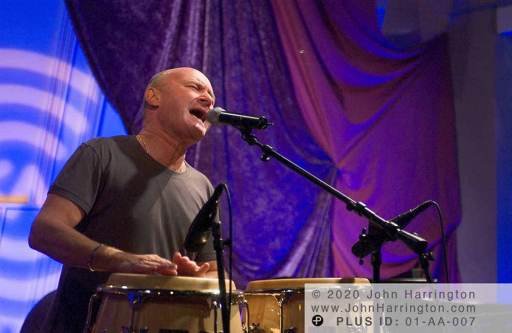 Phil Collins, formerly of Genesis, plays at XM during his Artist Confidential on Tuesday September 28, 2004.
