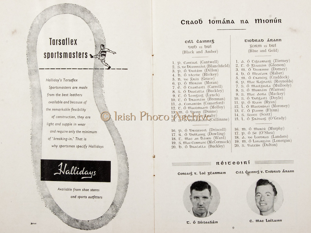 GAA All Ireland Hurling Finals up to 1970,.Brochures, Championship Final,.23.09.1956, 09.23.1956, 23rd September 1956,.Minor Kilkenny v Tipperary, .Senior Cork v Wexford,..Advertisement, Hallidays,..Kilkenny team should be amended to  W.Barry, J.Blanchfield, P.Dillon, H.Hickey, J.Cormack, P.Moran, T.Carroll,<br /> S.Buckley, T.Brennan, T.Molloy, P.Driscoll, B.Buckley, M.Dunne, S.Leahy, J.Cullinane