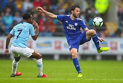 September 22, 2018 - Cardiff City, England, United Kingdom - Harry Arter of Cardiff City controls the ball while under pressure from Raheem Sterling of Manchester City .during the Premier League match between Cardiff City and Manchester City at Cardiff City Stadium,  Cardiff, England on 22 Sept 2018. (Credit Image: © Action Foto Sport/NurPhoto/ZUMA Press)