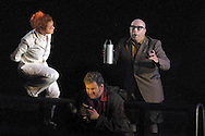 Scottish Opera's production of Richard Wagner's 'Siegfried', the third part of the 'Ring Cycle' which is being staged in successive years on the Edinburgh International Festival. Picture shows the Nibelung, Mime (Alasdair Elliot, right) tempting Siegfried (Graham Sanders) with a poison potion, as The Woodbird (Gillian Keith) looks on, in a scene from Act II........