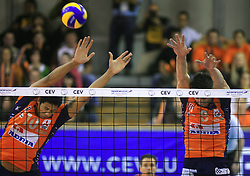 Delano Thomas and Jasmin Cuturic of ACH Volley at volleyball match of CEV Indesit Champions League Men 2008/2009 between ACH Volley Bled (SLO) and Beauvais Oise (FRA), on December 11, 2008 in Hala Tivoli, Ljubljana, Slovenia. (Photo by Vid Ponikvar / Sportida)