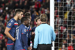 October 24, 2018 - Liverpool, United Kingdom - Crvena Zvezda defender Filip Stojkovic (30) talks with assistant referee during the Uefa Champions League Group Stage football match n.3  Liverpool v FK Crvena Zvezda on October 24, 2018, at the Anfield Road in Liverpool, England. (Credit Image: © Matteo Bottanelli/NurPhoto via ZUMA Press)