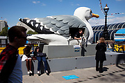 Spring community activities on The Southbank, London. Mark Dion's Mobile Gull Appreciation Unit plays host to different seabird preservation societies throughout the Festival.