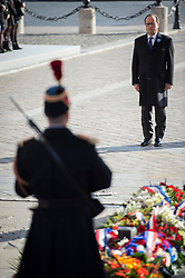 French President Francois Hollande arrives at the Tomb of the Unknown Soldier under the Arc de Triomphe during Armistice Day ceremonies marking the 98th anniversary of the end of World War I, in Paris, France on November 11, 2016. Photo by Jeremy Lempin/ABACAPRESS.COM