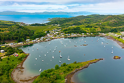 Aerial view from drone of village and harbour at Tayvallich on Loch Sween in Argyll & Bute , Scotland, UK