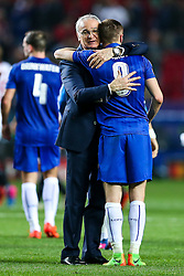 Leicester City manager Claudio Ranieri thanks goalscorer Jamie Vardy after a 2-1 loss - Rogan Thomson/JMP - 22/02/2017 - FOOTBALL - Estadio Ramon Sanchez Pizjuan - Seville, Spain - Sevilla FC v Leicester City - UEFA Champions League Round of 16, 1st Leg.