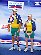 Bled, SLOVENIA, Adaptive Rowing. Awards Dock. Silver medalist. AUS TAMix2x. Grant BAILEY and Kathryn ROSS, FISA World Cup, Bled. Lake Bled.   Saturday  29/05/2010  [Mandatory Credit Peter Spurrier/ Intersport Images].Crew .  Adaptive, Rowing. Para Rowing,
