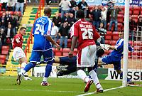 Photo: Ed Godden.<br />Bristol City v Brighton & Hove Albion. Coca Cola League 1. 02/09/2006. Scott Brown (far left) scores for Bristol City.