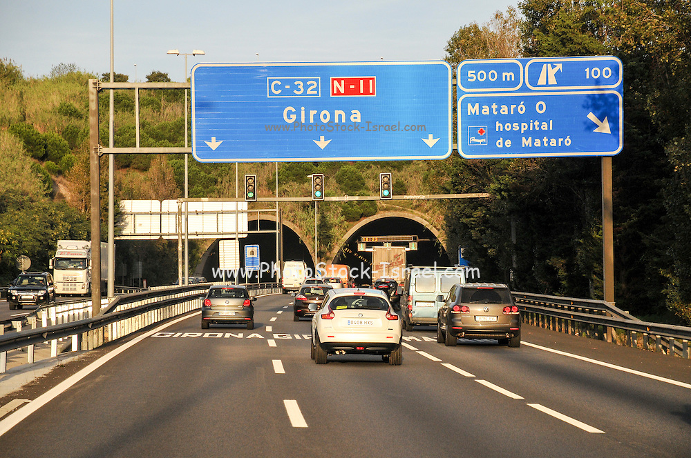 The Highway from Barcelona to Girona, Catalonia, Spain