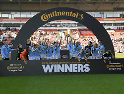 February 23, 2019 - Sheffield, England, United Kingdom - Manchester City with the Cup  during the  FA Women's Continental League Cup Final  between Arsenal and Manchester City Women at the Bramall Lane Football Ground, Sheffield United FC Sheffield, Saturday 23rd February. (Credit Image: © Action Foto Sport/NurPhoto via ZUMA Press)