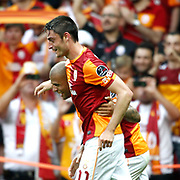 Galatasaray's Albert Riera Ortega (F) celebrate his goal with team mate during their Turkish superleague soccer derby match Galatasaray between Trabzonspor at the AliSamiYen spor kompleksi TT Arena in Istanbul Turkey on Saturday, 18 May 2013. Photo by Aykut AKICI/TURKPIX