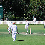 A game of cricket being played on the historic cricket oval in Bowral at the Bradman Museum in Bowral celebrating Don Bradman, probably the best cricketer of all time.