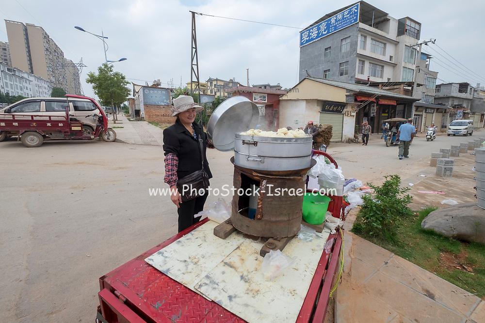 street vendor Selling food, Jianshui Market, Yunnan Province, China
