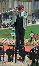 © Licensed to London News Pictures. 10/11/2011. London, UK. Joe Hubble from Black Watch salutes after laying a cross for his father in the section for The Royal West Regiment. HRH The duke of Edinburgh opens the annual Field of Remembrance at Westminster Abbey today 10 November. . Photo credit : Stephen Simpson/LNP