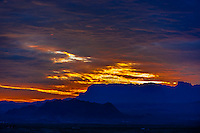 Sunrise looking toward the Chisos Mountains in Big Bend National Park from Terlingua ghosttown, Texas USA.
