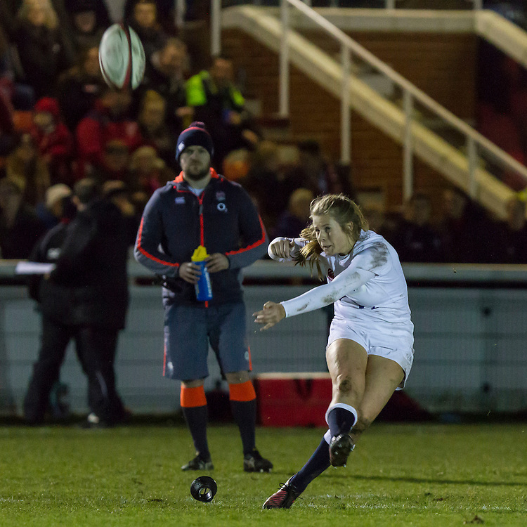 Zoe Harrison takes a conversion kick, Army Women v U20 England Women at the Army Rugby Stadium, Aldershot, England, on 16th February 2017. Final score 15-38.