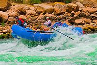 Whitewater rafting, Fishtail Rapid, Grand Canyon, Grand Canyon National Park, Arizona USA
