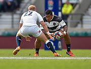 Barbarians wing David Smith (Toulon) lines up England fly-half Shane Geraghty (London Irish) during the International Rugby Union match England XV -V- Barbarians at Twickenham Stadium, London, Greater London, England on May  31  2015. (Steve Flynn/Image of Sport)