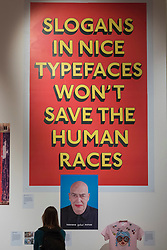 """© Licensed to London News Pictures. 27/03/2018. LONDON, UK. General view. Preview of """"Hope to Nope: Graphics and Politics 2008-18"""", an exhibition examining the political graphic design of a turbulent decade encompassing the 2008 financial crash, Barack Obam presidency, Brexit and Donald Trump's presidency.  The exhibition takes place at the Design Museum 28 March to 12 August 2018.  Photo credit: Stephen Chung/LNP"""