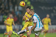 Joel Lynch (Huddersfield Town) clears the ball during the Sky Bet Championship match between Huddersfield Town and Rotherham United at the John Smiths Stadium, Huddersfield, England on 15 December 2015. Photo by Mark P Doherty.