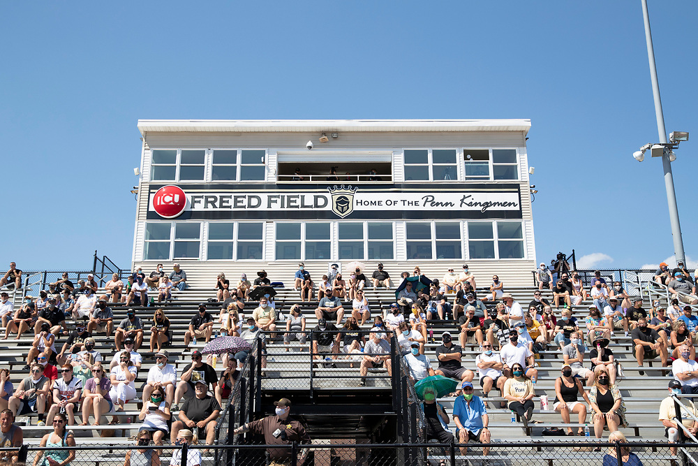 Penn fans in the stands during the Valparaiso-Penn high school football game on Saturday, August 22, 2020, at Freed Field in Mishawaka, Indiana.
