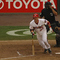 21 July 2007:  Washington Nationals catcher Brian Schneider (23) in action against the Colorado Rockies.  The Nationals defeated the Rockies 3-0 at RFK Stadium in Washington, D.C.  ****For Editorial Use Only****