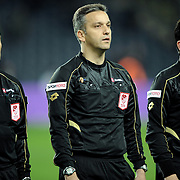 Referee's Mustafa Kamil Abitoglu (C) during their Turkish superleague soccer match Fenerbahce between Gaziantepspor at the Sukru Saracaoglu stadium in Istanbul Turkey on Monday09 January 2011. Photo by TURKPIX