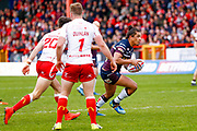 Leeds Rhinos full back Ashton Golding (1) makes a break for the line during the Betfred Super League match between Hull Kingston Rovers and Leeds Rhinos at the Lightstream Stadium, Hull, United Kingdom on 29 April 2018. Picture by Simon Davies.